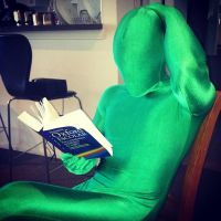 Studying hard in green zentai by lilaliu