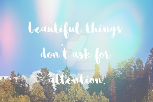 beautiful things don't ask for attention by jessikalloydphoto