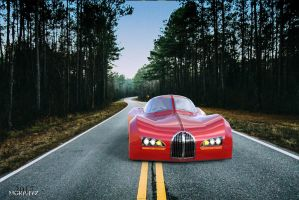Red Car in the Wood by Morphyz