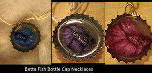Betta Fish Bottle Cap Necklaces by DancingVulture