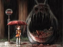 Gothic Totoro by xpinkcloud