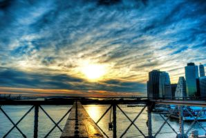 Sunset on the Brooklyn Bridge by MJKam11