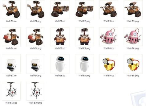 Wall-E desktop icons by josemiguelgarcia