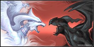 Reshiram VS Zekrom by Rodentruler