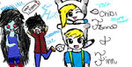 Fin,Fionna, Marshall Lee, and Marceline. by OnShin-RAsBrightSide