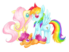 Fluttershy, Dashie and Scootaloo by lulu-fly