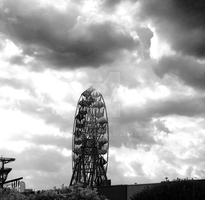 Black and white fairground and sky by coxyclan