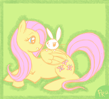 Fluttershy and Angel Bunny by pixie-rings