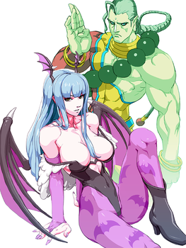 Darkstalkers : Morrigan and Donovan by oetaro