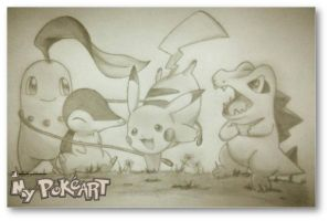 Johto Starters with Pikachu by mypokeart
