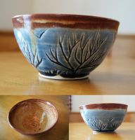 Blue Tree Themed Ceramic Bowl (small) by ashynekosan