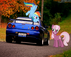 Rainbow Dash and Cheerilee with their Skyline R34 by nestordc