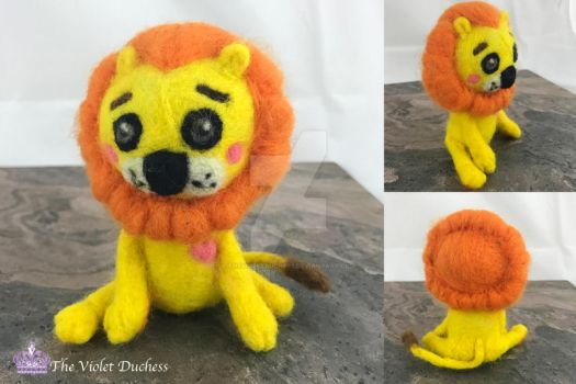 Needle Felted Cartoon Circus Lion by thevioletduchess