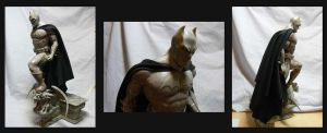 Batman statue with fabric cape. by Leebea