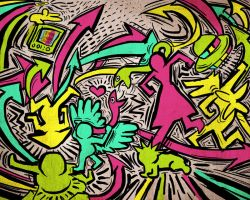 Kicking it Keith Haring Style by Pheoniic