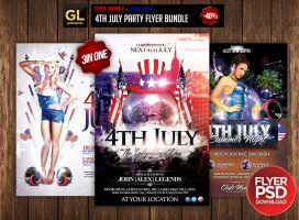 4th July Party Flyer Bundle 3 in one by Grandelelo