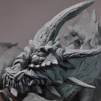 Demon Dragon WIP Face Closeup by AntWatkins