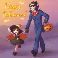 Phoenix and Trucy: Trick or Treat! by toastydoodles