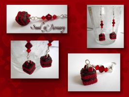 red velvet cake earrings by seed-of-january