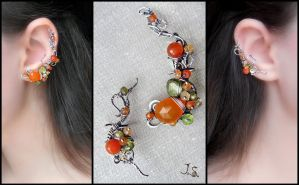 Silver ear cuffs Orange grove by JSjewelry