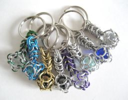 Caged Marble Maille Keychains by crazed-fangirl