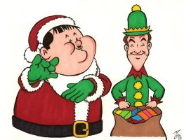 Laurel and Hardy Christmas by zombiegoon