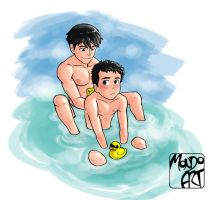 Commission - Bath Time with Dick and Damian by MondoArt