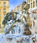 Frozen Bartholdi fountain (Lyon) by veracauwenberghs