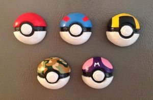 Gen 1 Pokeball Magnets by PKMNTrainerLarfleeze