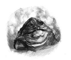 jabba the hutt in pen by freddylupus