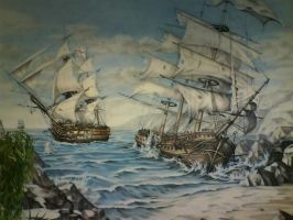 The naval battle mural by linkerart