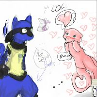 oC Collab Onish: Lucario_Mew by Myuutsuu