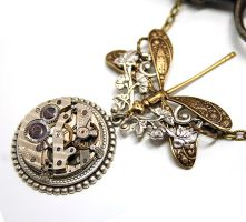Time to Fly Steampunk Necklace by byrdldy