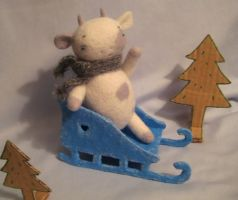 cow on the sledge by talitka