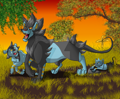 Luxray family by RakPolaris