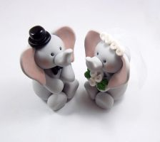 Elephants Wedding Cake Topper by HeartshapedCreations