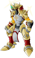 Gancelot Greymon (color) by HellGab