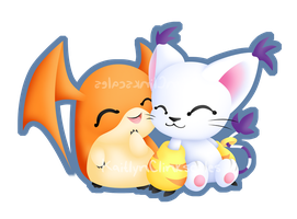 Patamon and Gatomon by Clinkorz