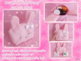 Cute Pink Bunny cosmetic pouch by BlueDove415