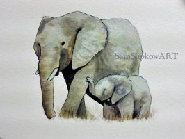 Watercolor elephants by SamSupkowART