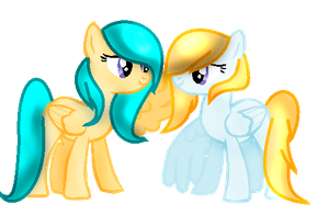 Blue Yellow Sisters by IcyPonyArtist