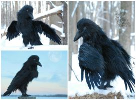 Dark-Raven Spirit Creature - Realistic Art Doll by RikerCreatures