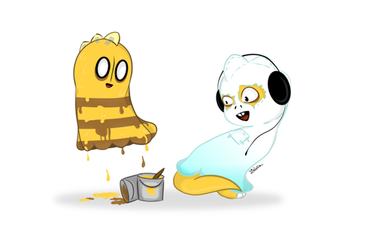 Napstablook and Monster kid-swapped by Maja-TheHoneyBee