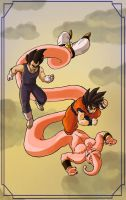 Goku, Vegeta, Buu by spokenillusion