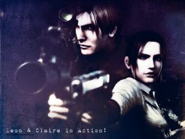 Leon and Claire: gift by VickyxRedfield