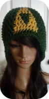 Crochet Dark Green Triforce Beanie by AAMurray