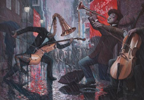 Learning to Dance in The Rain - oil painting by borda