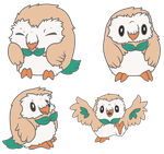 Rowlet doodles by CharlyArtz