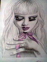 pink girl by DiablossArt