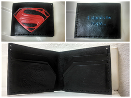 Man of Steel Leather Wallet by MaiseDesigns